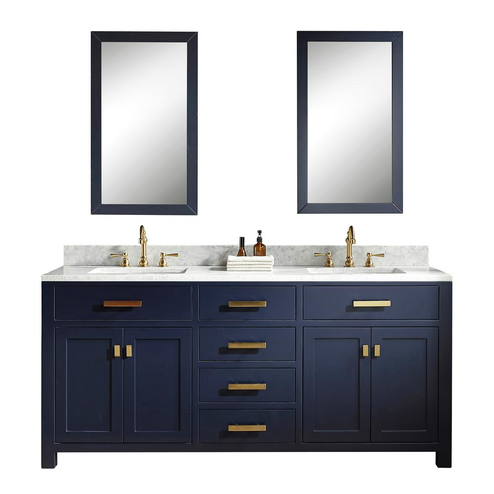 Water Creation Madison 72 in. Bath Vanity in Monarch Blue with Carrara White Marble Vanity Top with Ceramics White Basins and Faucet