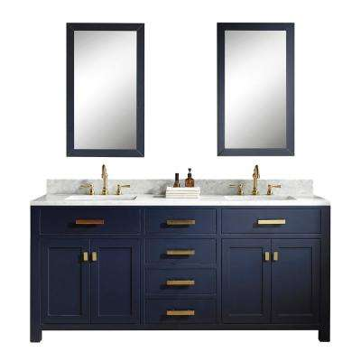 Madison 72 in. Bath Vanity in Monarch Blue with Carrara White Marble Vanity Top with White Basins and Faucet