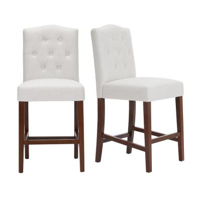 Beckridge Walnut Finish Upholstered Counter Stool with Back and Biscuit Beige Seat (Set of 2) (18.11 in. W x 40 in. H)