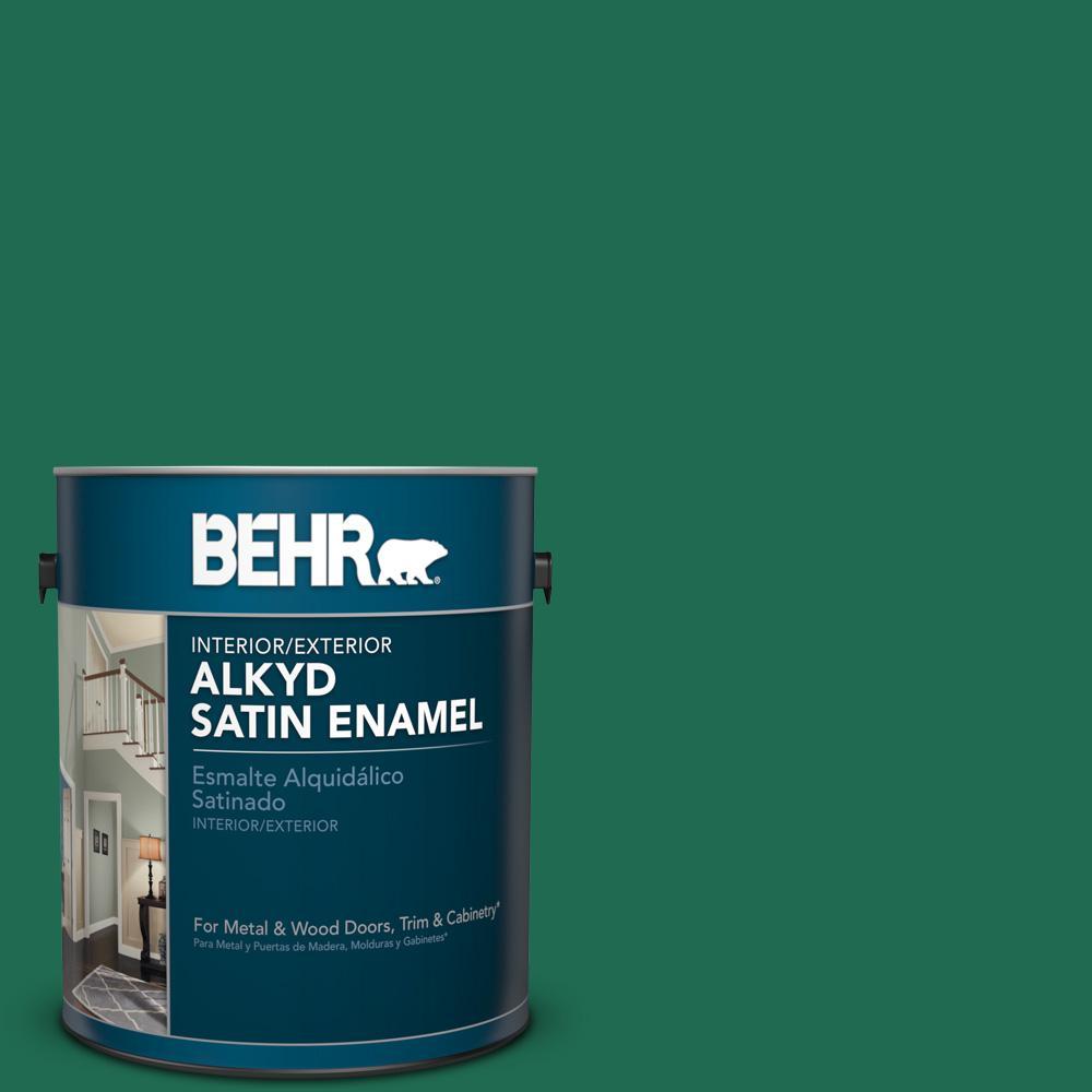 1 gal. #P430-7 Sparkling Emerald Satin Enamel Alkyd Interior/Exterior Paint