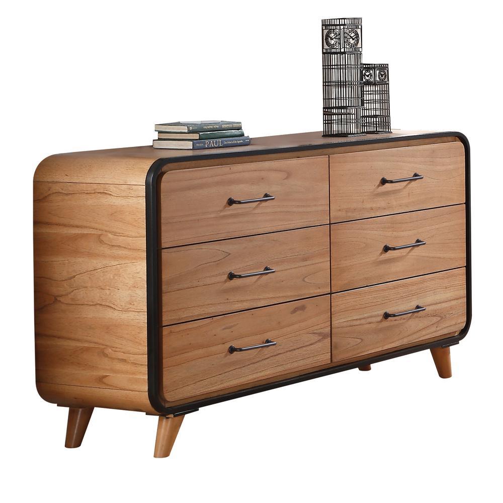 Bon Acme Furniture Carla Oak And Black Dresser