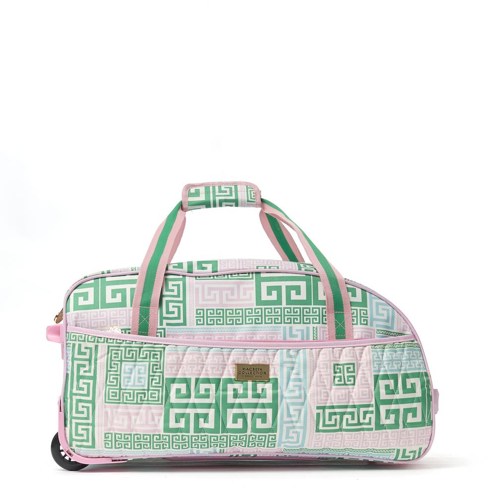 PrepSet 21.5 in. Green and Pink Rolling Duffel Bag