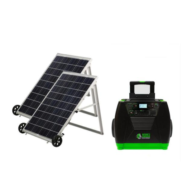 3600-Watt Solar Powered Portable Generator with Electric Start with 2 Solar Panels