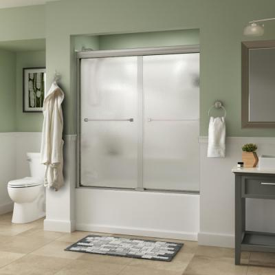 Everly 60 in. x 58-1/8 in. Semi-Frameless Traditional Sliding Bathtub Door in Nickel with Rain Glass