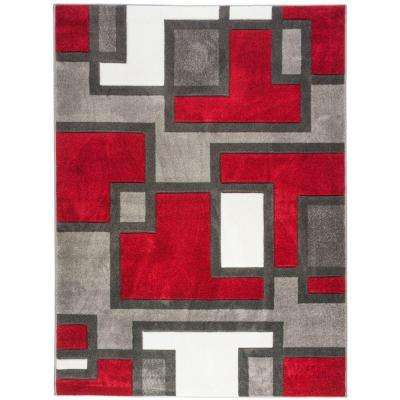 Ruby Imagination Squares Red 9 ft. x 13 ft. Modern Area Rug