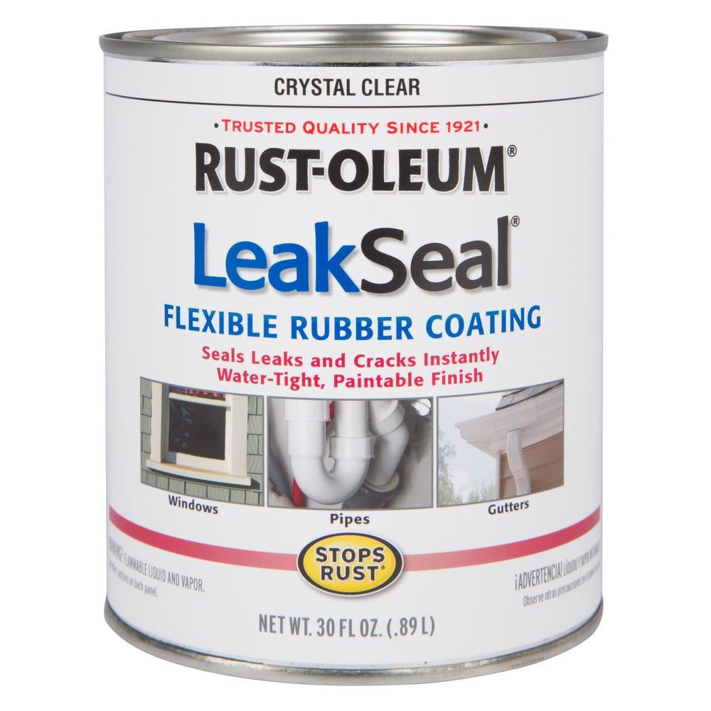 Rust oleum stops rust 30 oz leakseal clear flexible rubber coating sealer case of 2 275116 - Exterior sealant paint decor ...