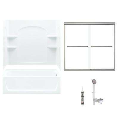 Ensemble 32 in. x 60 in. x 73.25 in. Bath and Shower Kit with Right-Hand Drain
