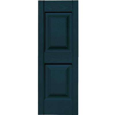 12 in. x 35 in. Raised Panel Vinyl Exterior Shutters Pair in #166 Midnight Blue