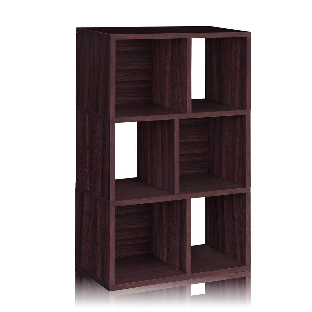 Way Basics Laguna 3-Shelf 12 x 22.8 x 36.8 zBoard  Bookcase, Tool-Free Assembly Cubby Storage in Espresso Wood Grain
