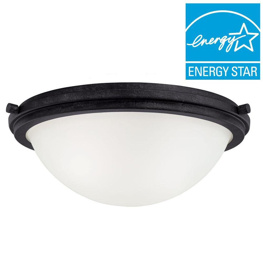 Sea Gull Lighting Winnetka 2-Light Blacksmith Fluorescent Ceiling Flushmount with Satin Etched Glass