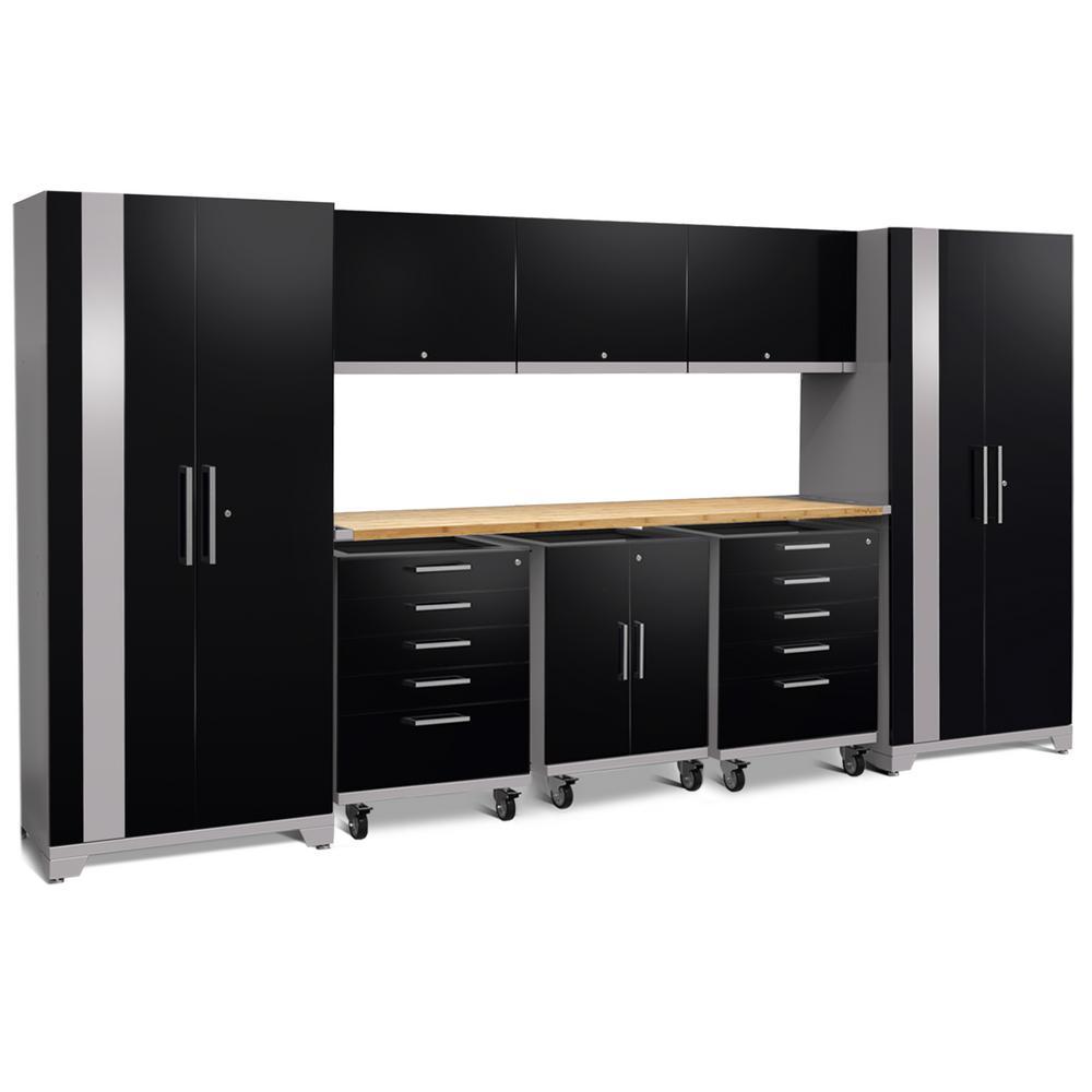 Performance Plus 2.0 85.25 in. H x 161 in. W x 24 in. D 18-Gauge Welded Steel Garage Cabinet Set in Black (10-Piece)