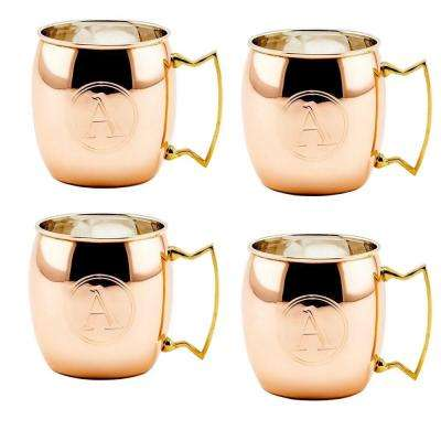 Monogram A 16 oz. Solid Copper Moscow Mule Mugs (Set of 4)