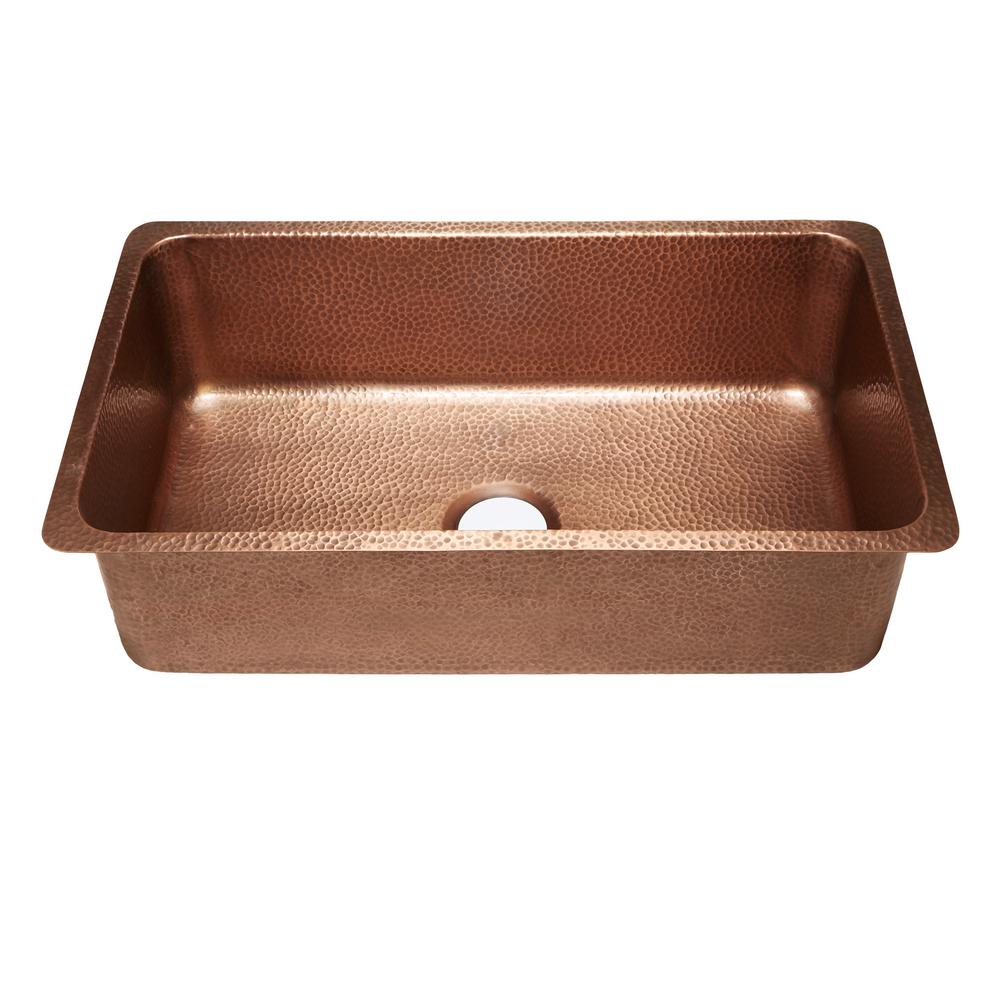 Sinkology David Luxury Undermount Handmade Solid Copper 31 In Single Bowl Kitchen Sink In Hammered Antique Copper Sk203 31ac The Home Depot