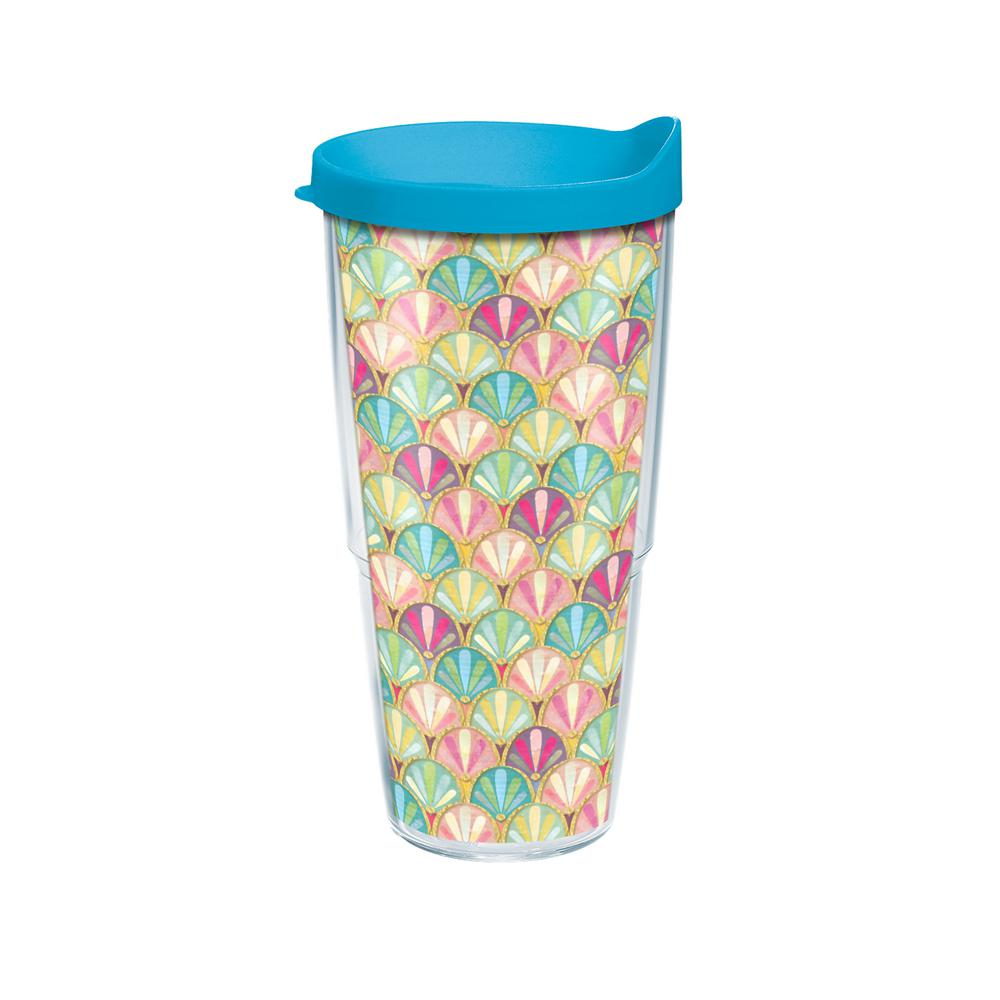 Mermaid Scallop 24 oz. Double Walled Insulated Tumbler with Travel Lid