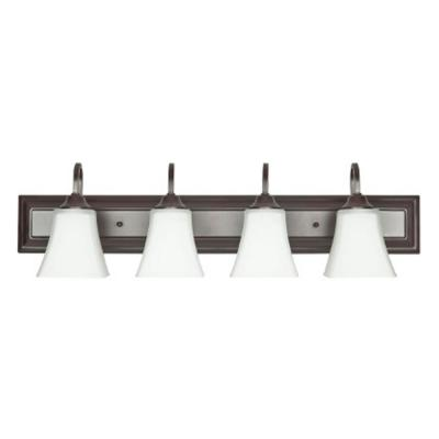 4-Light Oil Rubbed Bronze Vanity Light with Frosted Glass Shade