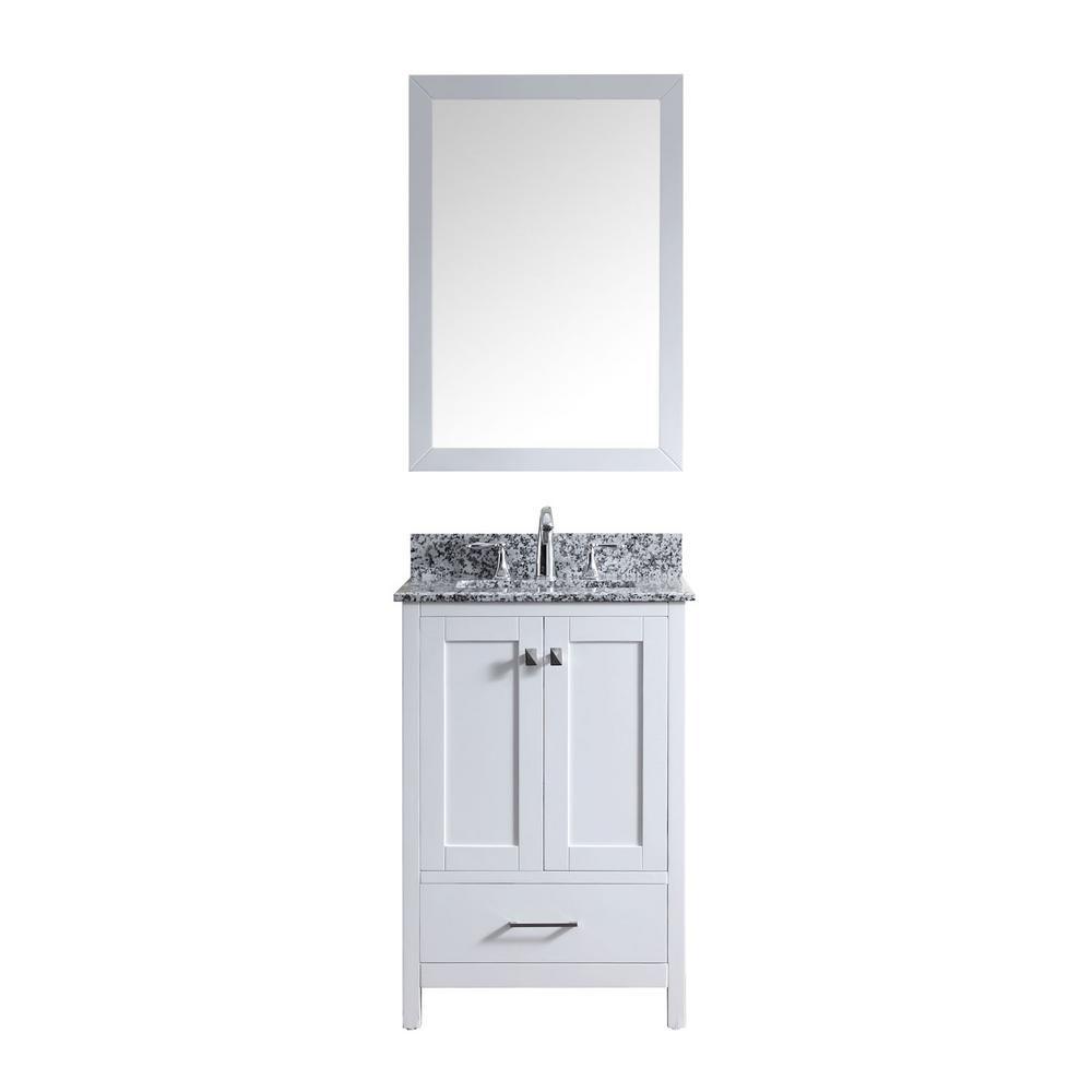 Caroline Madison 24 in. Vanity in White with Granite Vanity Top