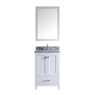 24 vanity with granite top. caroline madison 24 in. vanity in white with granite top a