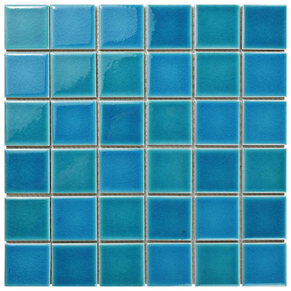 Merola Tile Island Crackle Hawaii Blue 11-7/8 in. x 11-7/8 in. x 7 ...