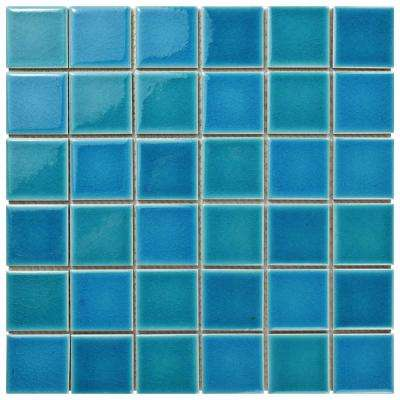 Island Crackle Hawaii Blue 11-7/8 in. x 11-7/8 in. x 7 mm Porcelain Mosaic Tile