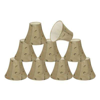 6 in. x 5 in. Gold and Floral Embroiderd Design Bell Lamp Shade (9-Pack)
