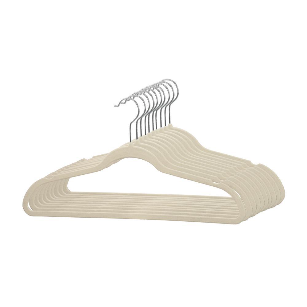 Ivory Velvet Hanger (10-Pack)