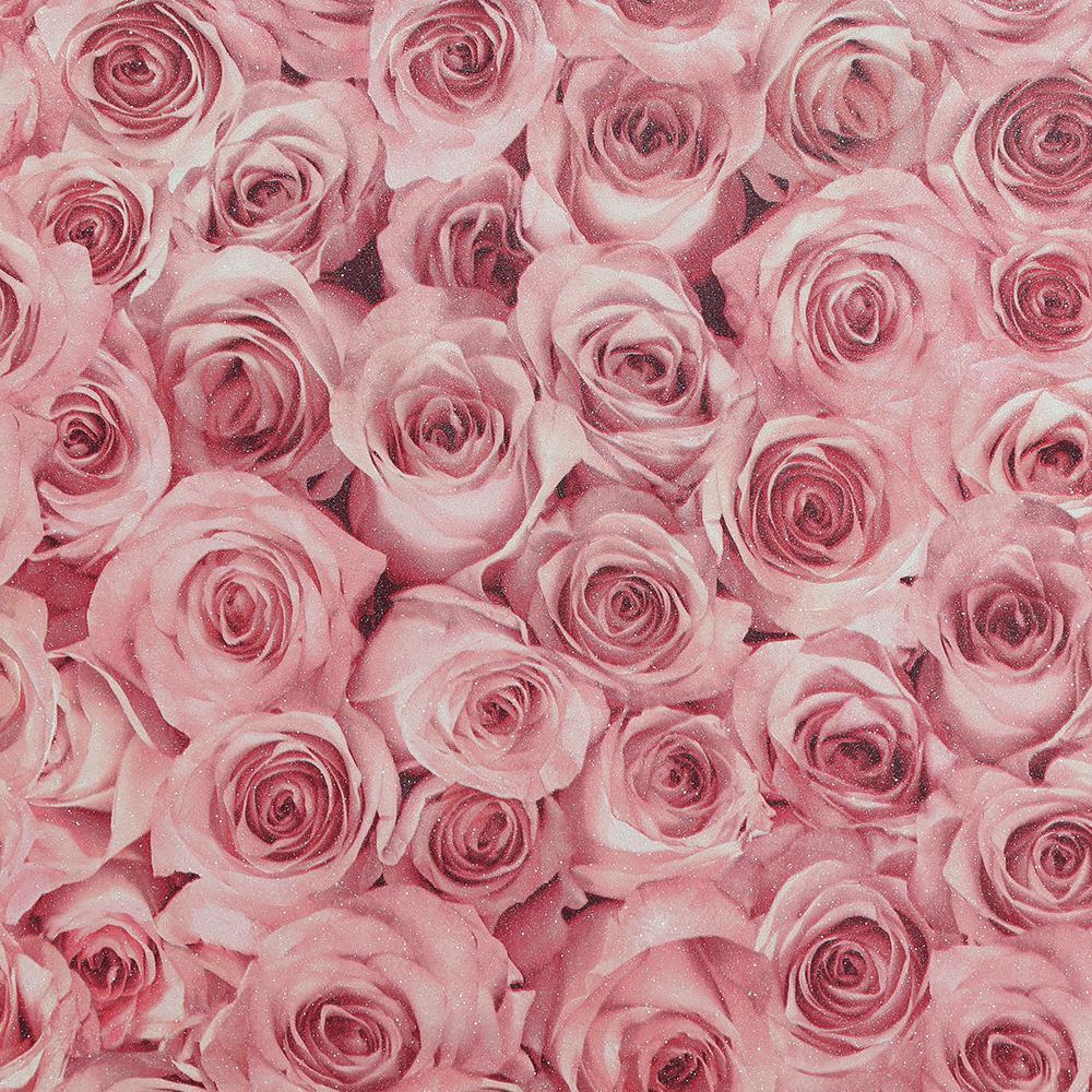 Rose Wall Raspberry Vinyl Wallpaper