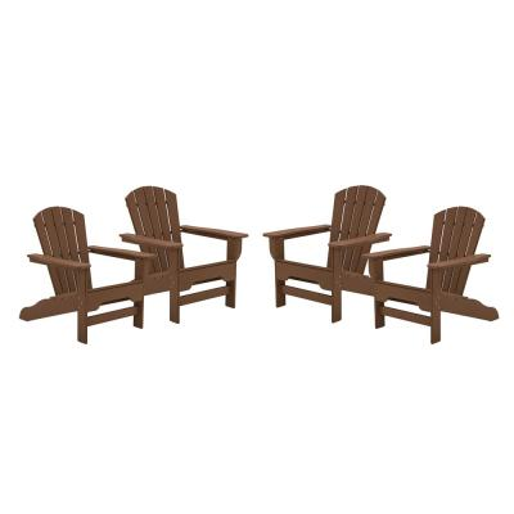 Boca Raton Teak Recycled Plastic Curveback Adirondack Chair (4-Pack)