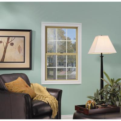 33.375 in. x 48 in. W-2500 Series Black Painted Clad Wood Double Hung Window w/ Natural Interior and Screen