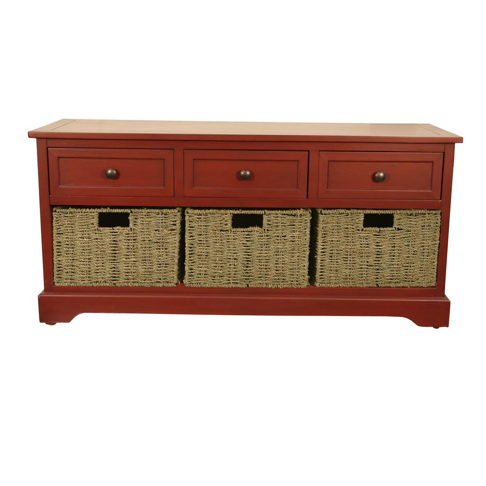 Montgomery Red Storage Bench