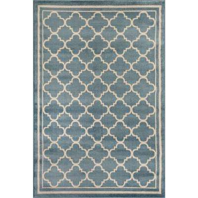 Trellis Contemporary Modern Design Blue 5 ft. 3 in. x 7 ft. 3 in. Indoor Area Rug