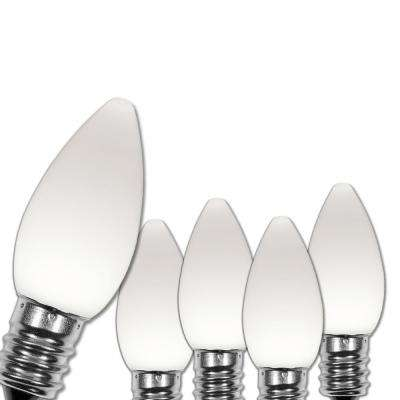 C7 LED Cool White Smooth/Opaque Christmas Light Bulbs (25-Pack)