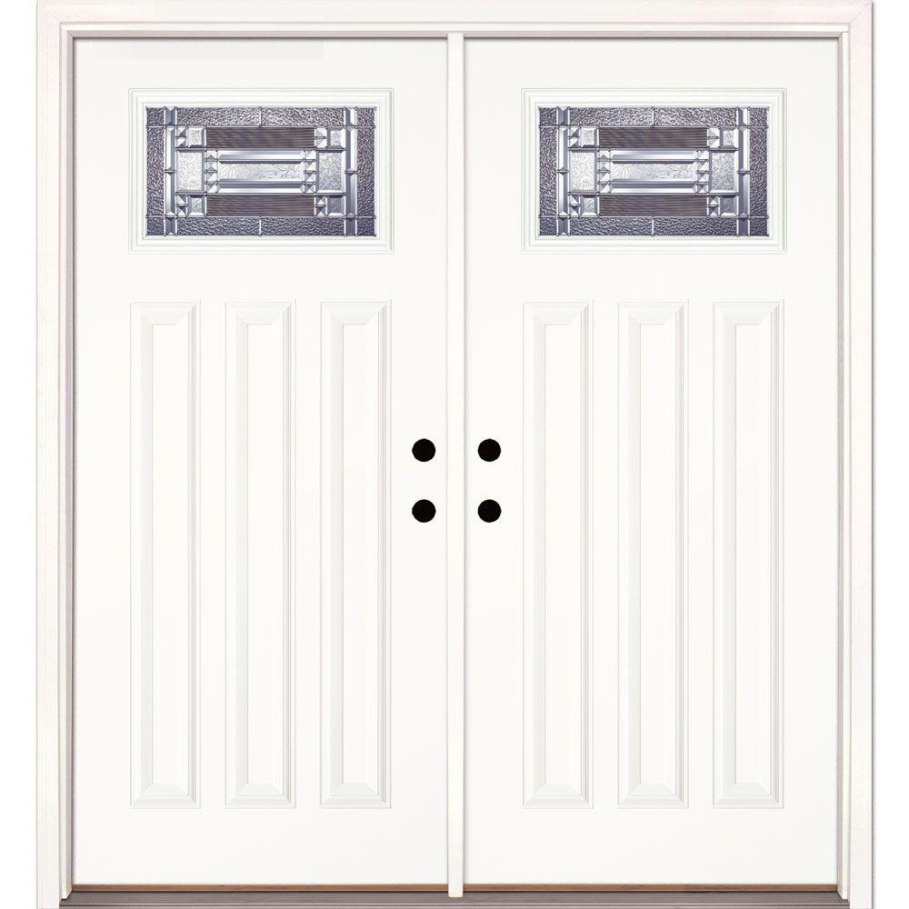Feather River Doors 74 in. x 81.625 in. Preston Zinc Craftsman Unfinished Smooth Left  sc 1 st  The Home Depot & Feather River Doors 74 in. x 81.625 in. Preston Zinc Craftsman ...
