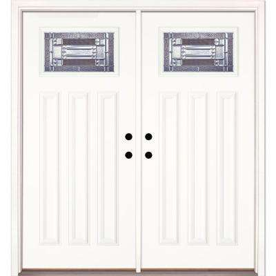 74 in. x 81.625 in. Preston Zinc Craftsman Unfinished Smooth Left-Hand Inswing Fiberglass Double Prehung Front Door