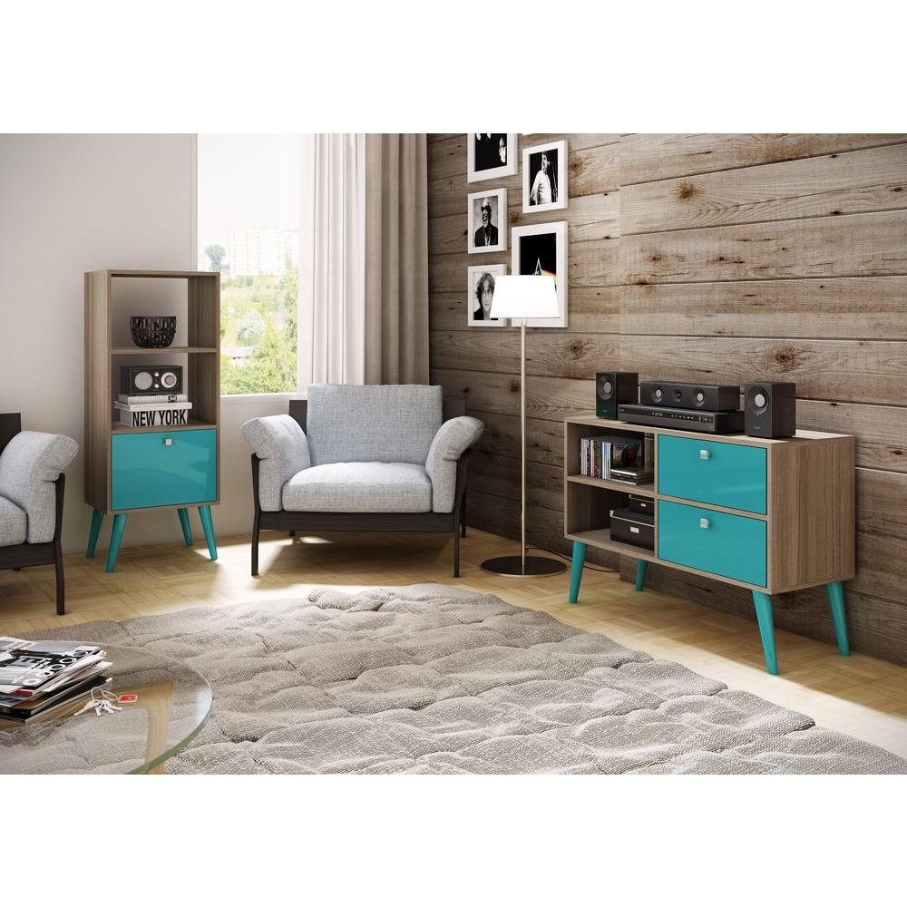 Sami Oak & Aqua Storage Open Bookcase