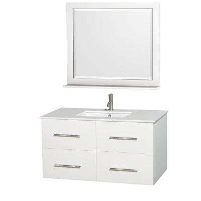 Centra 42 in. Vanity in White with Solid-Surface Vanity Top in White, Square Sink and 36 in. Mirror