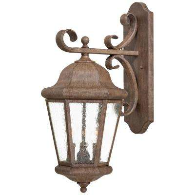 Taylor Court 3-Light Vintage Rust Outdoor Wall Lantern Sconce