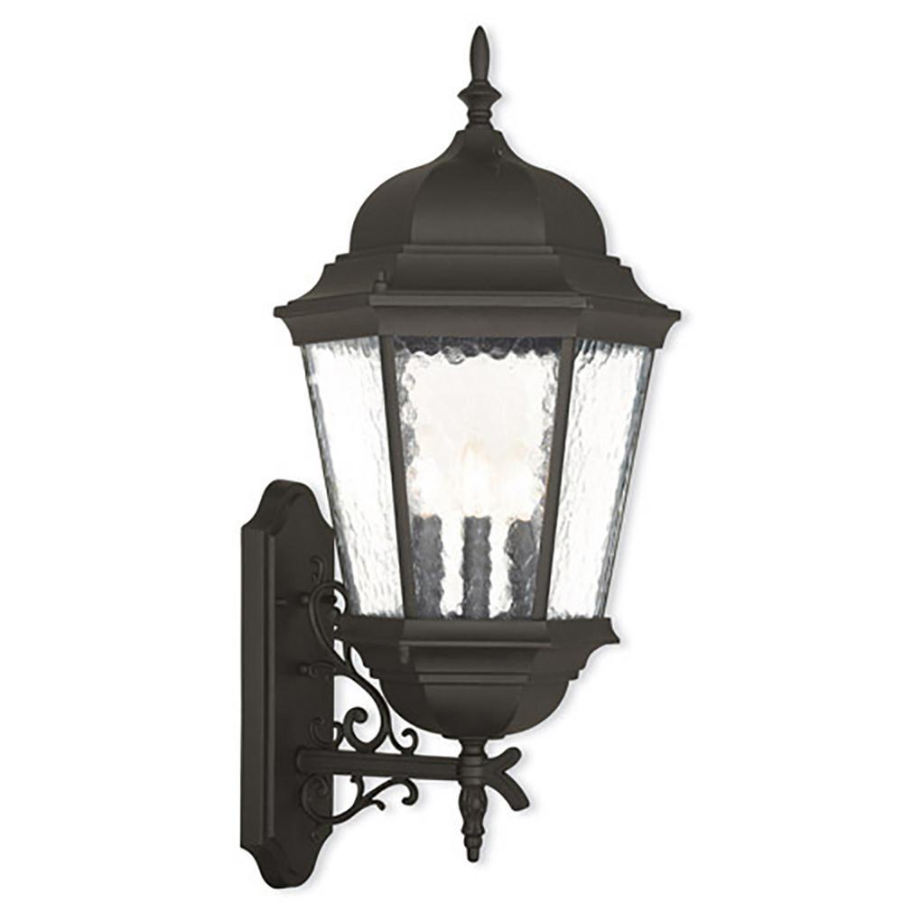 Hamilton 3-Light Textured Black Outdoor Wall Lantern Sconce