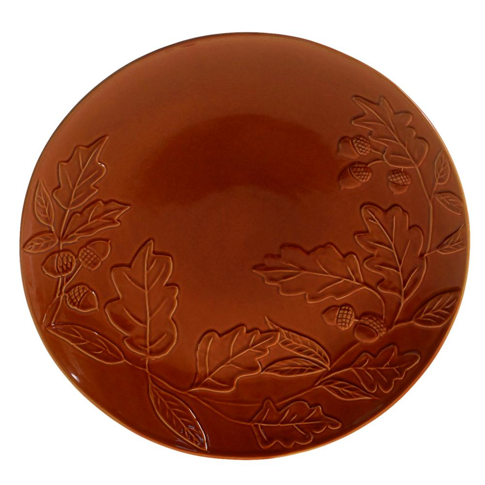 Autumn Fields by Susan Winget Acorn Pumpkin 13 in. Round Platter