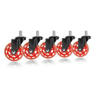 3 in. Black and Red Rollerblade Office Chair Caster Wheels (5-Pack)