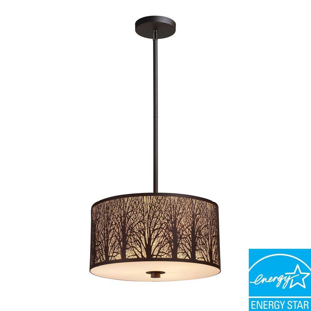 Titan Lighting Woodland Sunrise 3-Light Aged Bronze Pendant