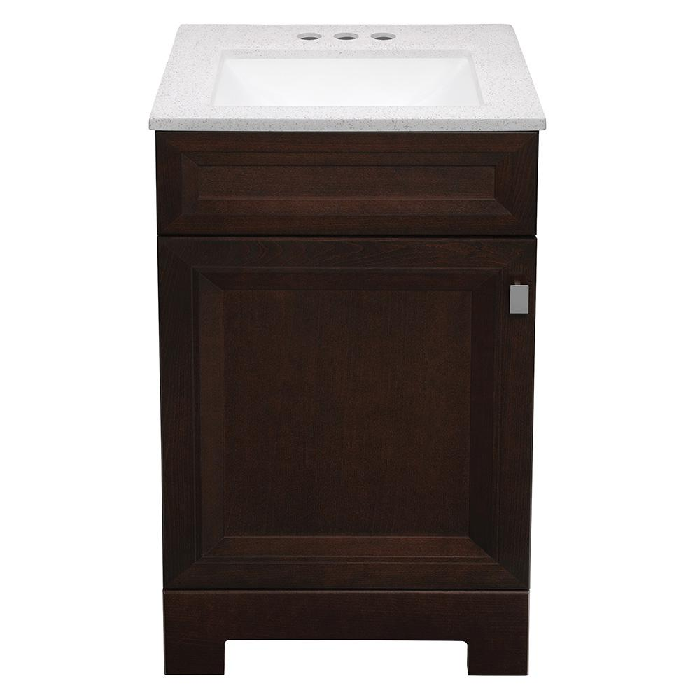 Home Decorators Collection Sedgewood 18-1/2 in. W Bath Vanity in Dark Cognac with Solid Surface Technology Vanity Top in Arctic with White Sink