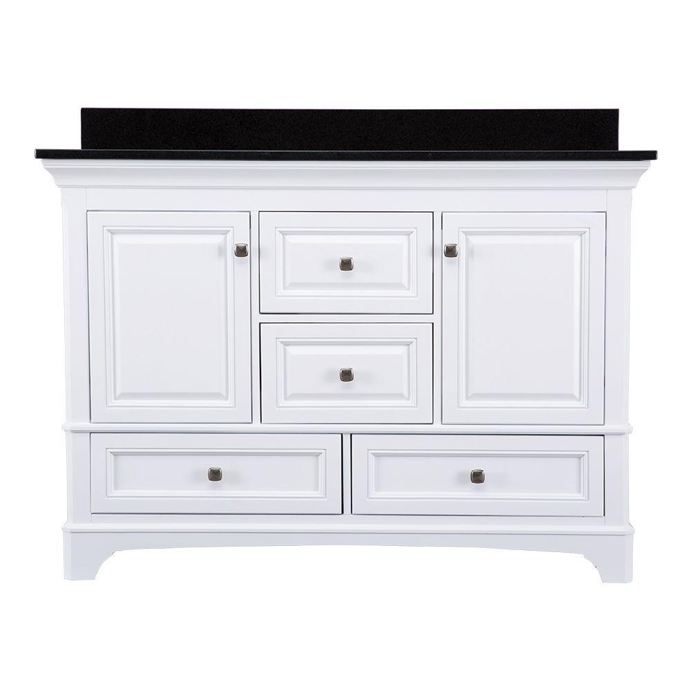 Moorpark 49 in. W x 22 in. D Bath Vanity in White with Granite Vanity Top in Black