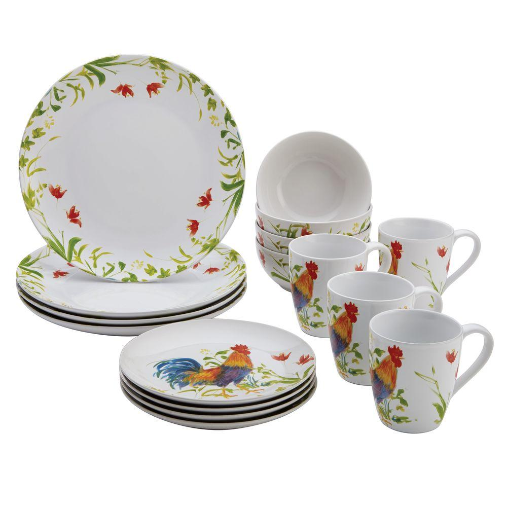 BonJour Dinnerware Meadow Rooster Stoneware 16-Piece Set in Print