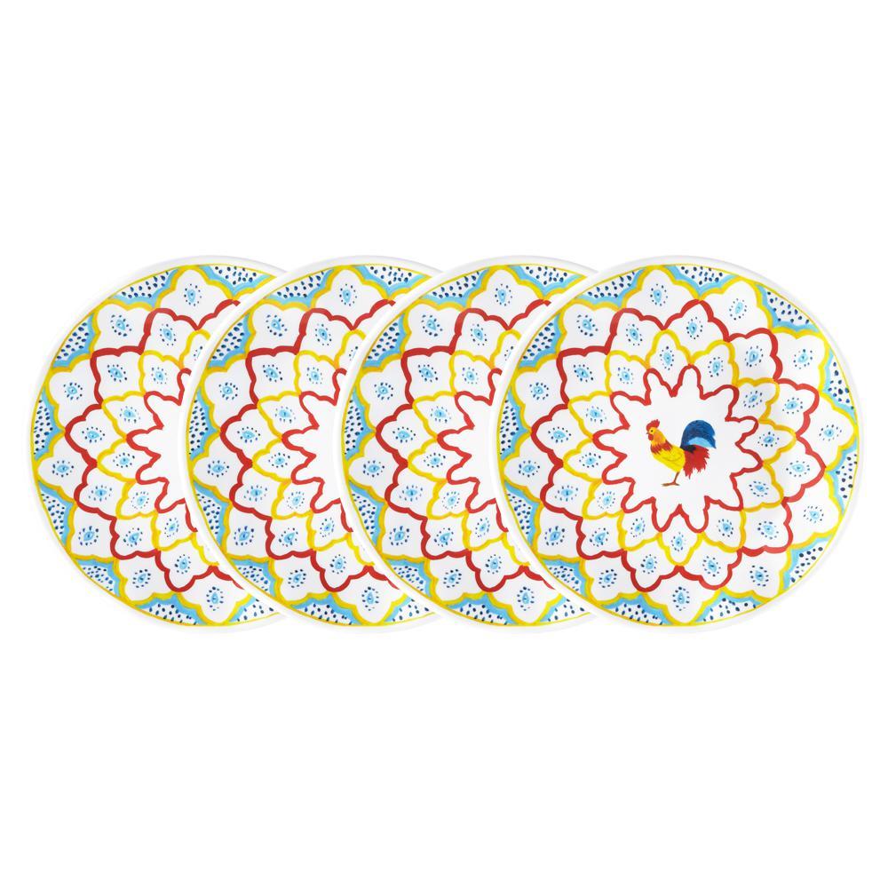 Porto Chal 4-Piece Assorted Colors Melamine Salad Plate Set