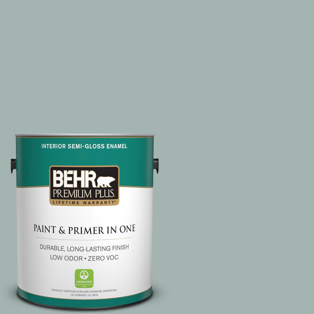 1 gal. #PPU12-09 Frozen Pond Zero VOC Semi-Gloss Enamel Interior Paint