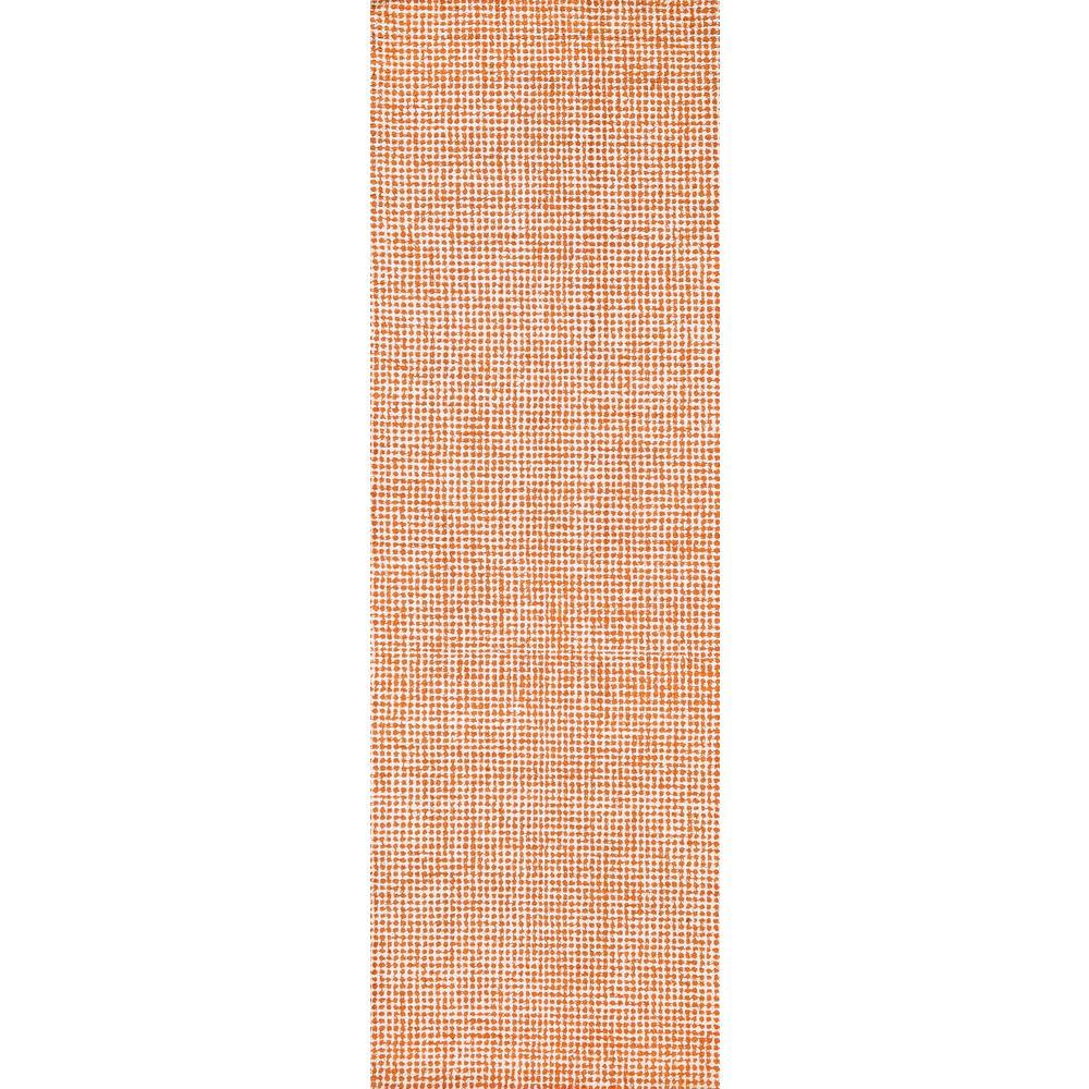 "London Collection Orange 100% Wool 2'6"" x 8' Hand-Tufted Tweed Area Rug"