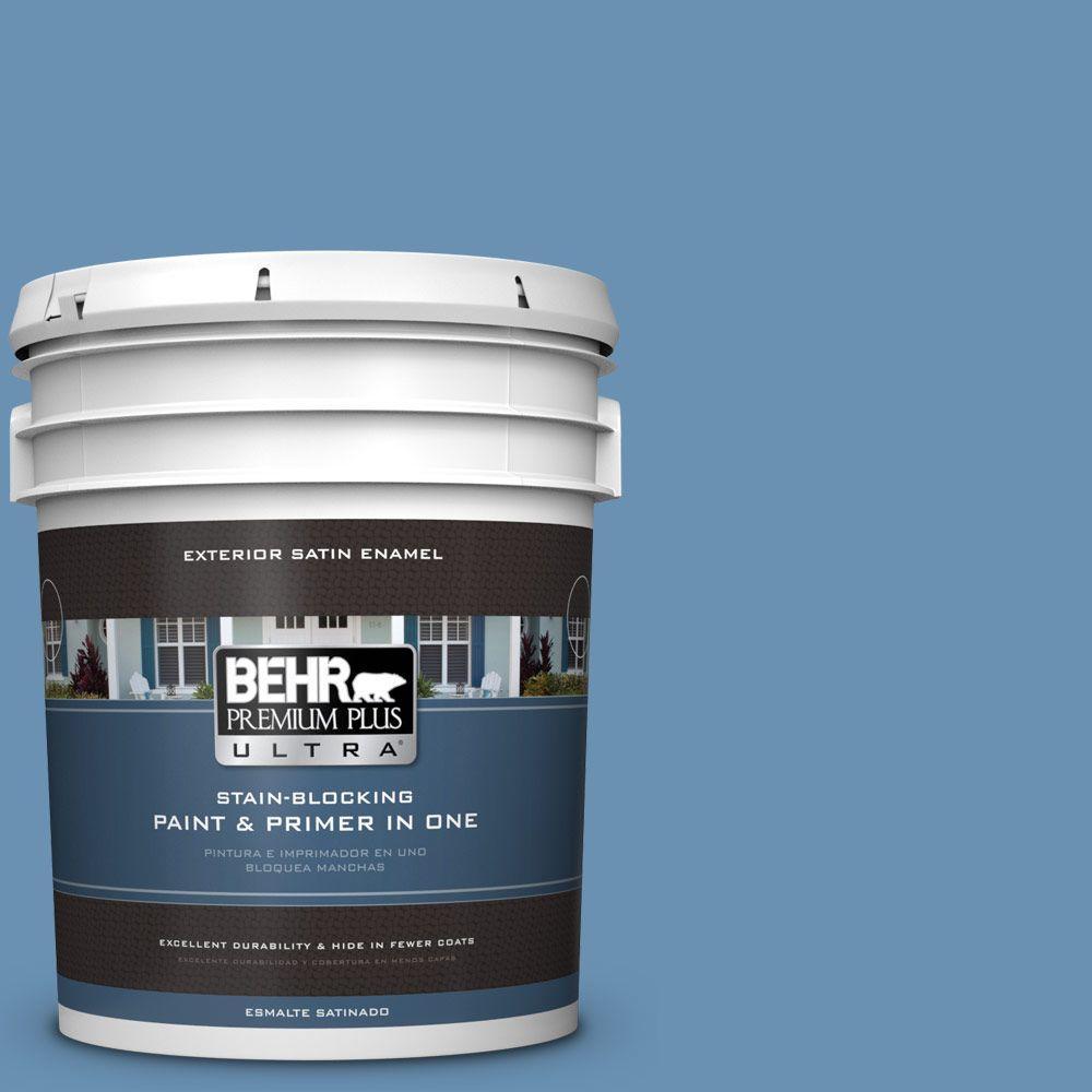 BEHR Premium Plus Ultra 5-gal. #M510-4 Brittany Blue Satin Enamel Exterior Paint