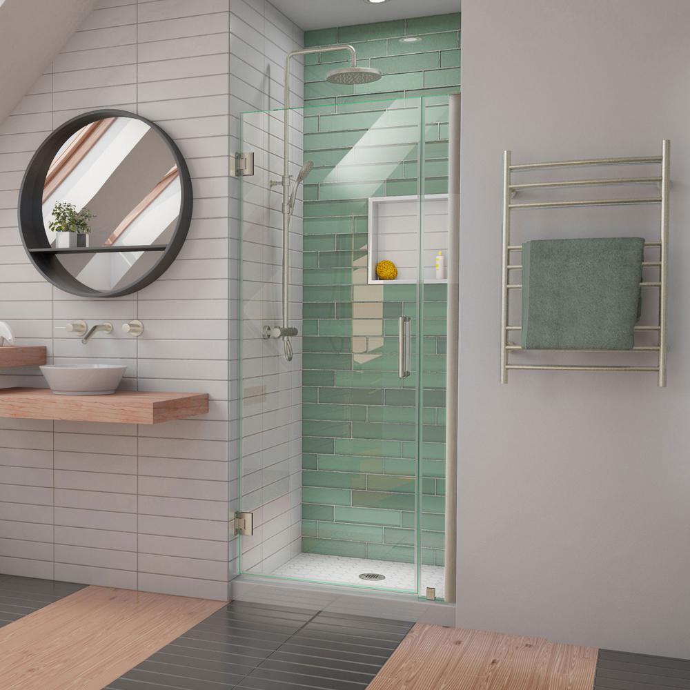 Unidoor-LS 29 in. - 30 in. W x 72 in. H Frameless Hinged Shower Door in Brushed Nickel