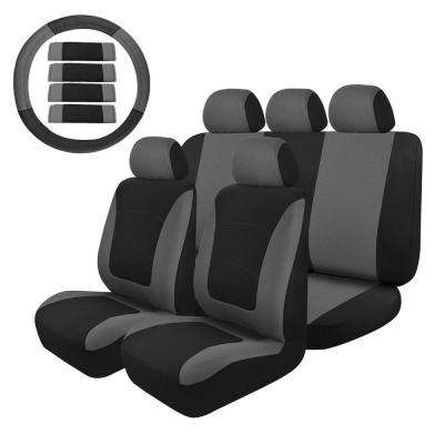 47 in. x 23 in. x 1 in. Universal Seat Covers Full Set, Fit Most Car SUV Truck in Grey /Black (14-Piece)