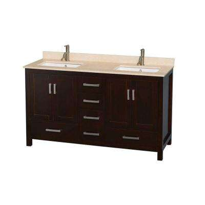 Sheffield 60 in. Double Vanity in Espresso with Marble Vanity Top in Ivory